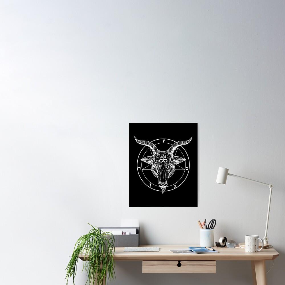 Baphomet Goat Head with Pentagram Occult Symbolism or Satanist Symbols Poster