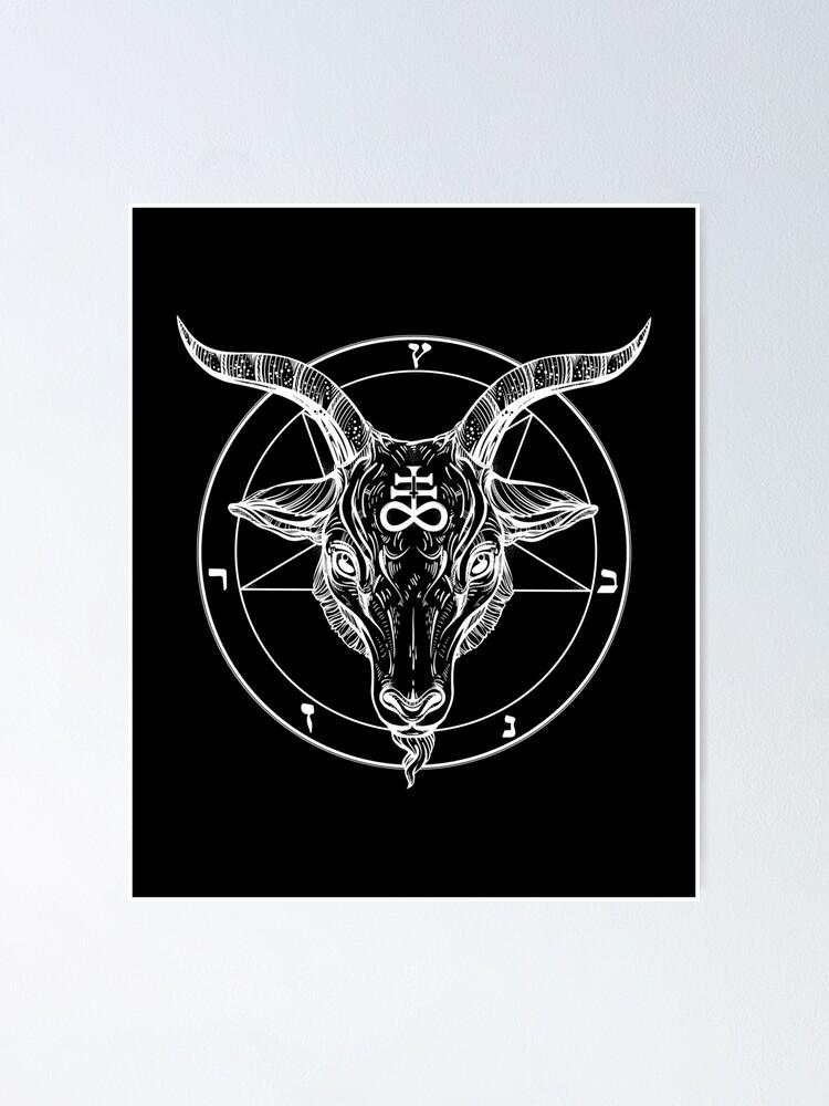 Alternate view of Baphomet Goat Head with Pentagram Occult Symbolism or Satanist Symbols Poster