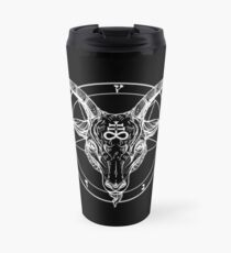 Baphomet Goat Head with Pentagram Occult Symbolism or Satanist Symbols Travel Mug