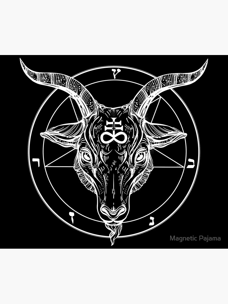 Baphomet Goat Head with Pentagram Occult Symbolism or Satanist Symbols by MagneticMama