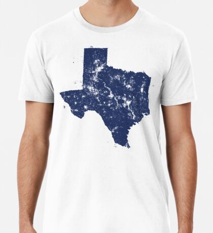 Distressed State Map Silhouette of Texas (Blue) Premium T-Shirt