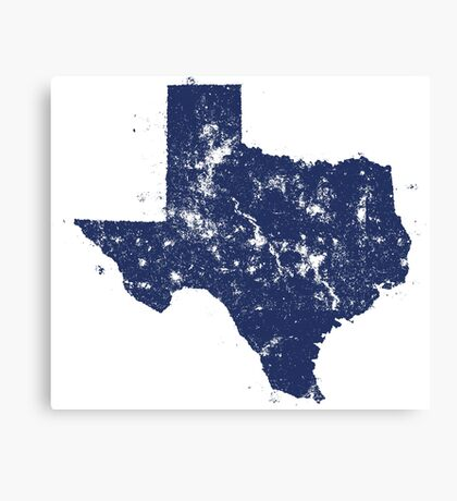 Distressed State Map Silhouette of Texas (Blue) Canvas Print