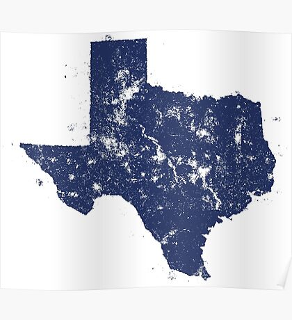 Distressed State Map Silhouette of Texas (Blue) Poster