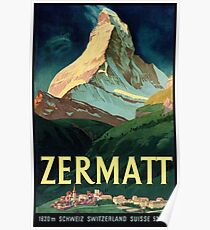 Zermatt, Switzerland Vintage Travel Poster Poster