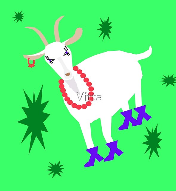 Goat on the Green Background. Neon. by Vitta