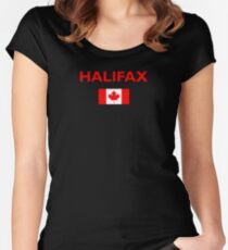 Halifax Canada Canadian Flag Color Dark Women's Fitted Scoop T-Shirt