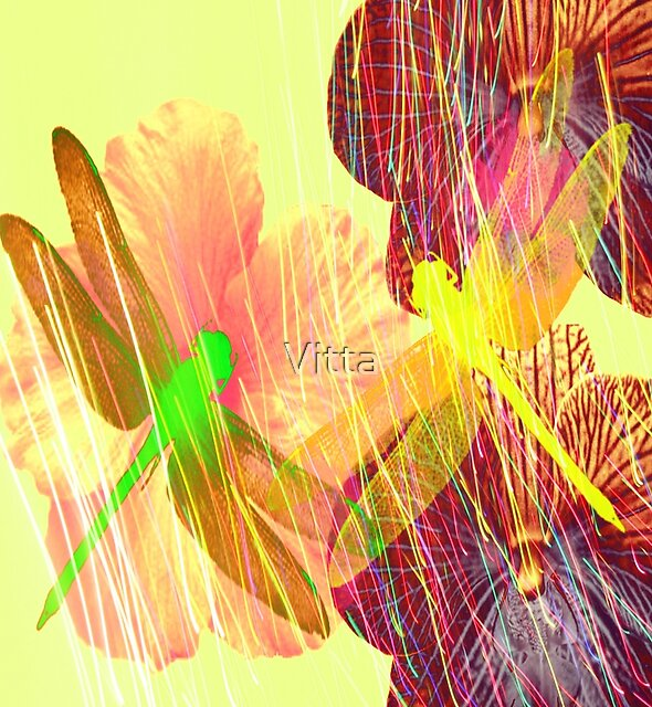Dragonflies and Flowers by Vitta