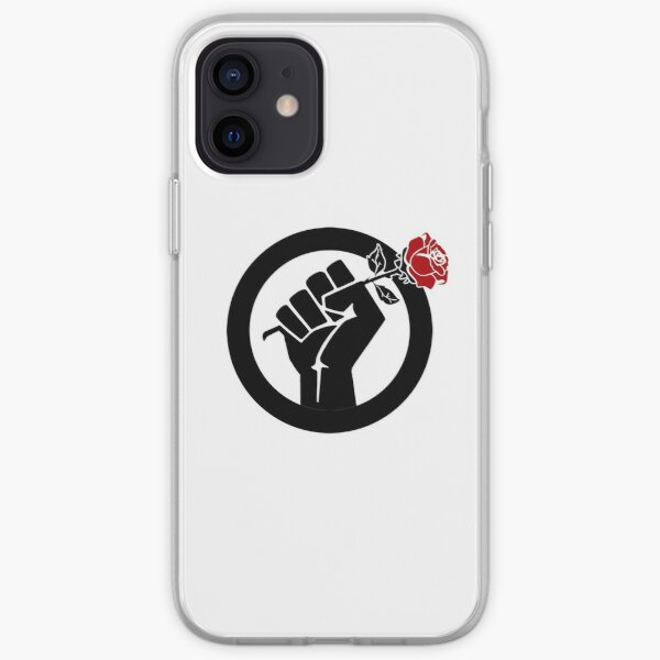 Democratic Socialist Fist With Red Rose iPhone Soft Case