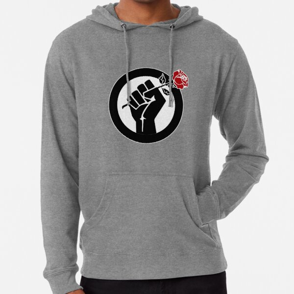 Democratic Socialist Fist With Red Rose Lightweight Hoodie