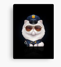 Persian Cat Dressed as a Police Officer Canvas Print