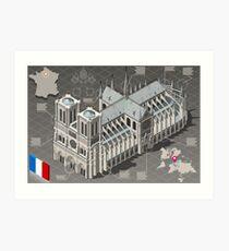 Isometric Infographic Notre Dame de Paris Art Print