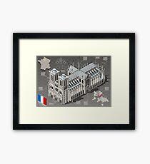 Isometric Infographic Notre Dame de Paris Framed Print