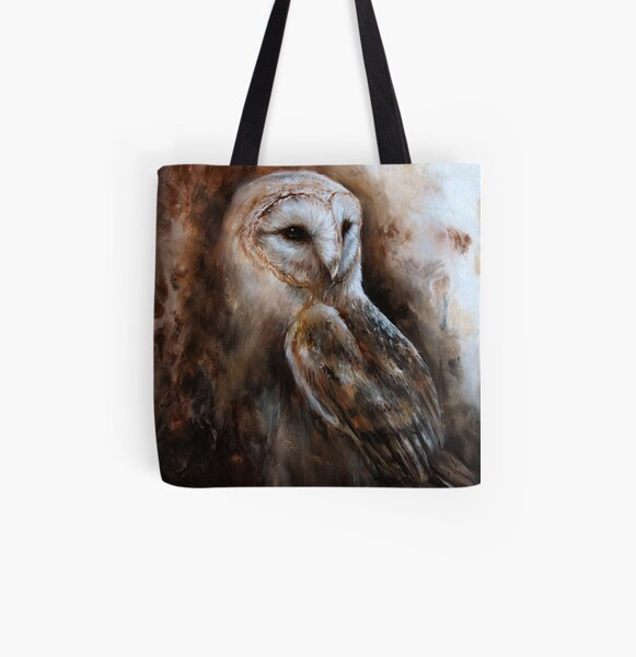 Latte - Barn Owl  All Over Print Tote Bag