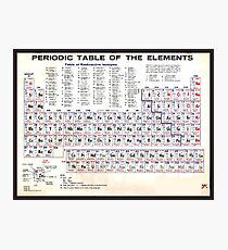 Periodic Table Of The Elements Vintage Chart Warm Photographic Print