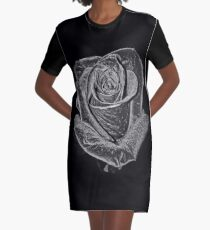 Silver Rose Graphic T-Shirt Dress