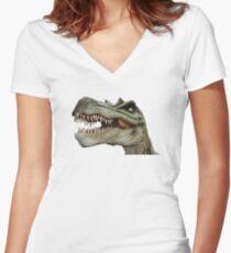 Dinosaur Dino Giant Lizard T-Rex Women's Fitted V-Neck T-Shirt