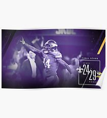 Minnesota Vikings Stefon Diggs vs Saints 2018 Poster
