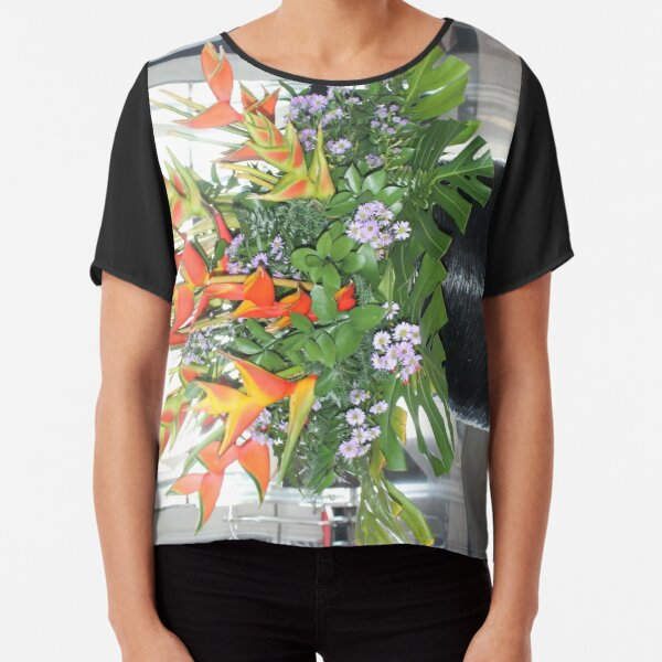 Tropical flower in a decorative pot Chiffon Top
