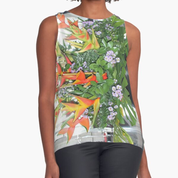 Tropical flower in a decorative pot Sleeveless Top