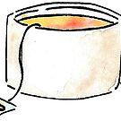 Teacup with Lemon Tea - Sticker by pixelmist