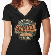 30 Years Original since 1988 - 30th Birthday gift 30th for t-shirts cups and many more.  Women's Fitted V-Neck T-Shirt