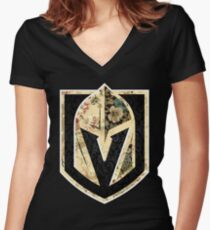 FLORALS - Golden Knights Women's Fitted V-Neck T-Shirt