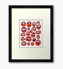 Japanese Daruma Characters Framed Print