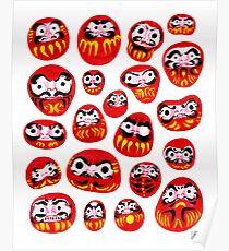 Japanese Daruma Characters Poster