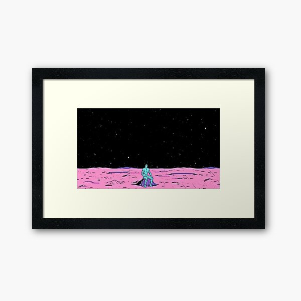 Dr. Manhattan sitting on mars (comic) Framed Art Print