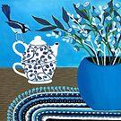Tea Time With The Blue Wren by Lisafrancesjudd