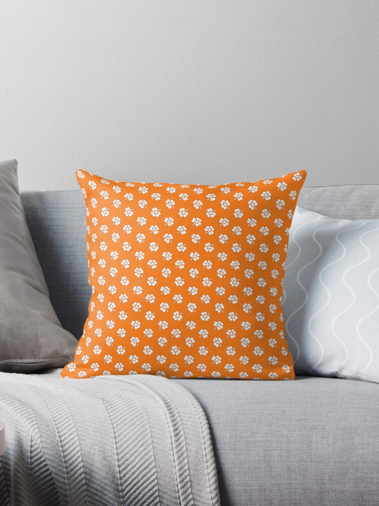 White Clover on Orange Retro Pattern by coverinlove