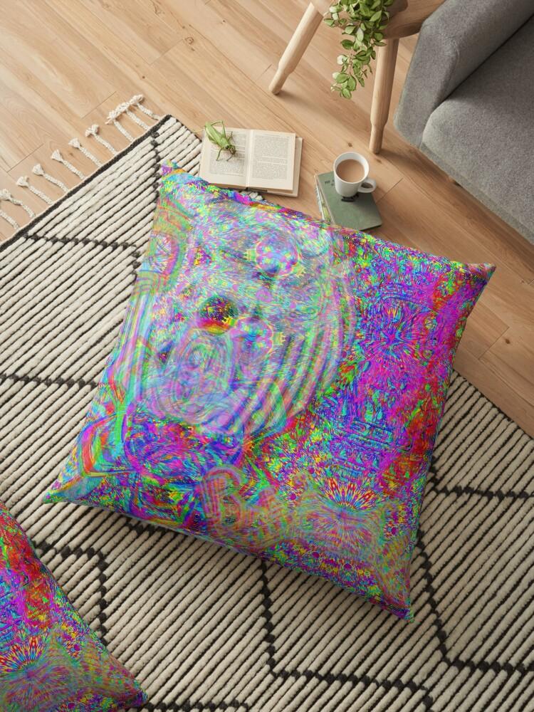 'Ayahuasca visions' Floor Pillow by Vinesh Chandrakant