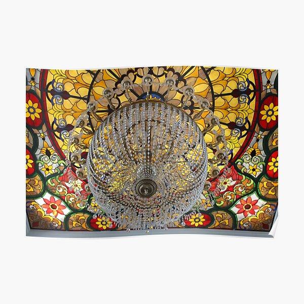 Crystal chandelier under a patterned ceiling Poster