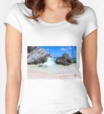 Bermuda, Pink Sand Beaches, Blue Ocean Fitted Scoop T-Shirt