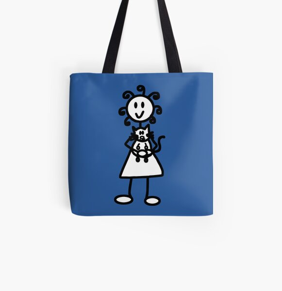 The girl with the curly hair - mid blue All Over Print Tote Bag