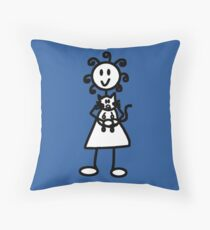 The girl with the curly hair - mid blue Throw Pillow