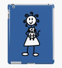The girl with the curly hair - mid blue iPad Case/Skin