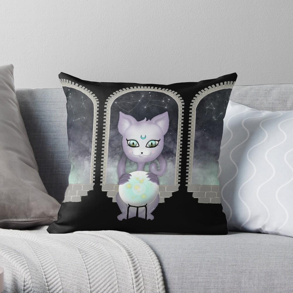 Mystic Miku   Crystal Ball & Zodiac   Black Throw Pillow