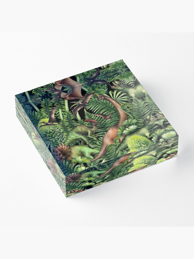 Alternate view of Watercolor dinosaurs and prehistoric plants Acrylic Block