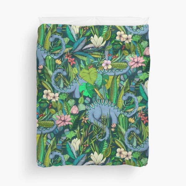 Improbable Botanical with Dinosaurs - dark green Duvet Cover