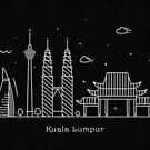 Kuala Lumpur Skyline Minimal Line Art Poster by A Deniz Akerman