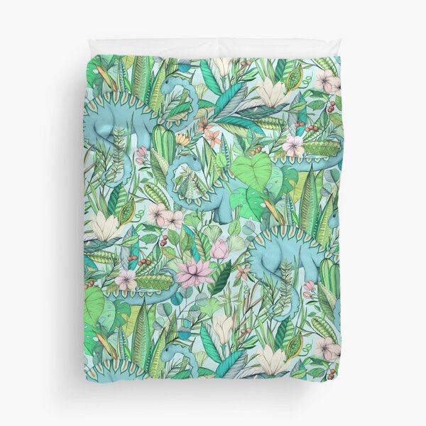Improbable Botanical with Dinosaurs - soft pastels Duvet Cover
