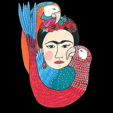 Cute Beautiful Frida Kahlo With Birds Illustration by DoodlesAndStuff