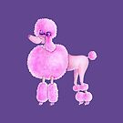 Pink poodle dog whimsical watercolor painting by Sarah Trett