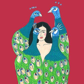 Ren Hang Inspired Illustration Girl With Peacocks by DoodlesAndStuff