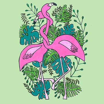Cute Flamingos Hugging In The Jungle by DoodlesAndStuff