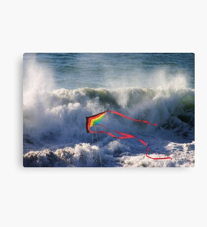 Kite in Surf Canvas Print