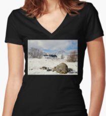 scottish highlands  Women's Fitted V-Neck T-Shirt