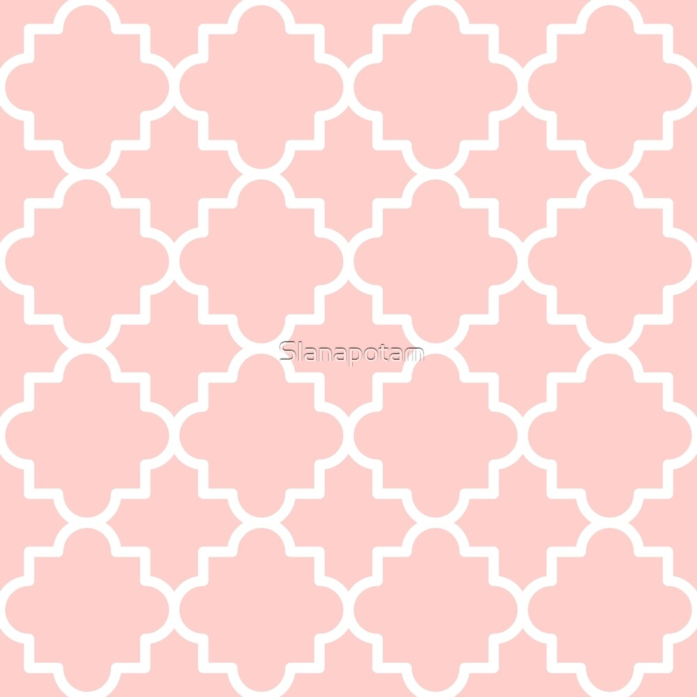 Quatrefoil-5, blush pink and white by Slanapotam