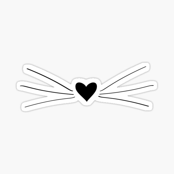 Cat Heart Nose & Whiskers Sticker